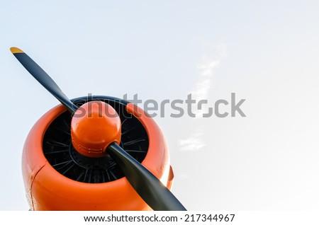Engine propeller, Old airplane, orange, - stock photo