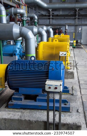 Engine room - power station. - stock photo