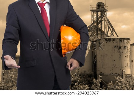 engineer and industrial factory - stock photo