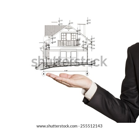 Engineer, architect hold the building plan on hand. - stock photo