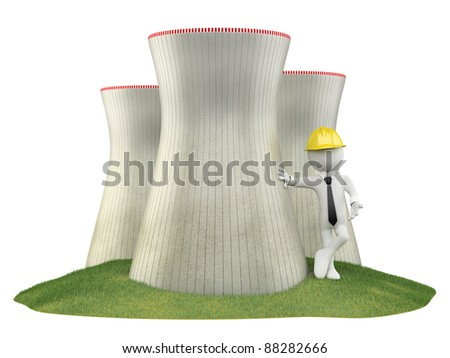 Engineer at a nuclear plant - stock photo