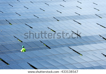 engineer check solar plant - stock photo