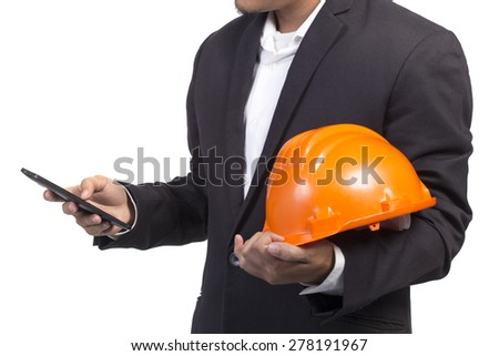 engineer checking emails on the phone on white background - stock photo