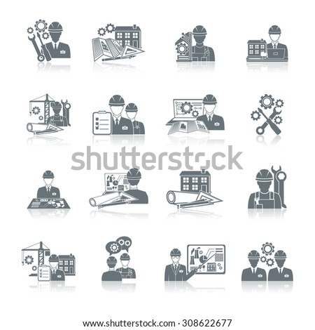 Engineer construction equipment machine operator production and manufacturing icons black set isolated  illustration. - stock photo