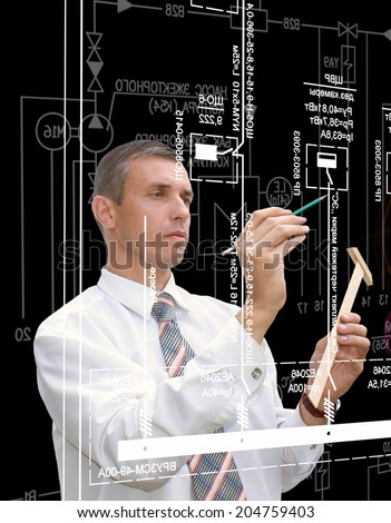 Engineer Designer.Industrial Engineering Technology - stock photo
