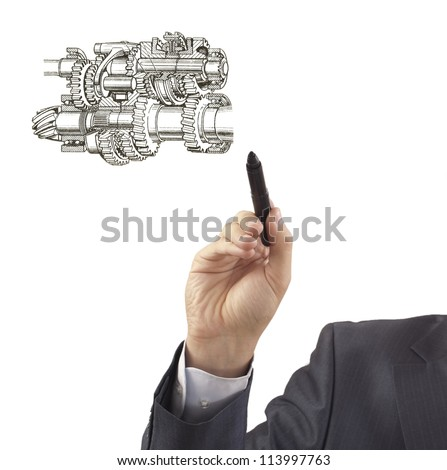 engineer drawing Plan scheme automotive transmission comprising gears and shafts - stock photo