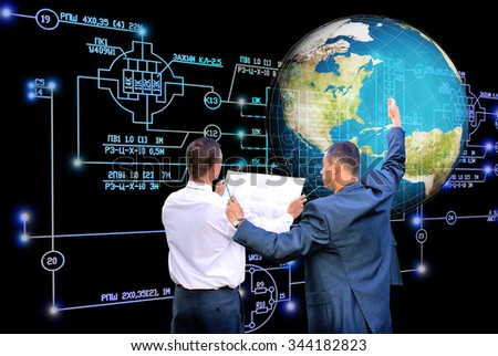 Engineer,industrial electrical engineering scheme,globe planet - stock photo