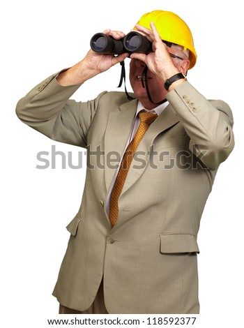 Engineer Looking Away On White Background - stock photo