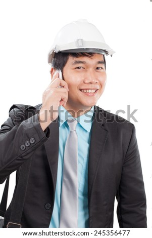 engineer man talkin on mobile phone and smiling with happy emotion isolated white background use for people working on career and modern occupation  - stock photo