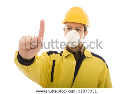 Engineer pressing with his finger something isolated on white - stock photo