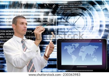 Engineer-programmer.Computing technology - stock photo