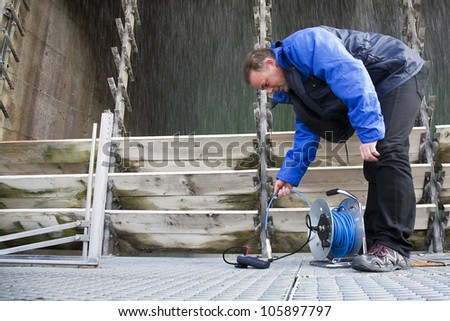 Engineer running tests - stock photo