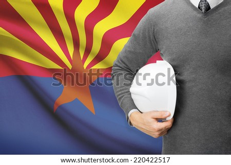 Engineer with flag on background series - Arizona - stock photo