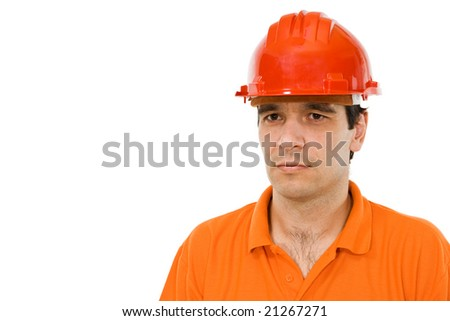 Engineer with orange shirt and red hat - isolated - stock photo