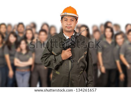 Engineer with  teamwork - stock photo