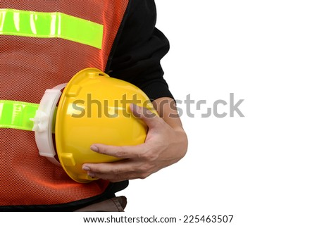 engineer yellow helmet for workers security isolated on white background - stock photo