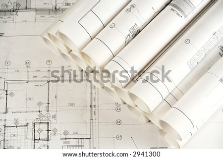 Engineering and Architecture Drawings 2 - stock photo