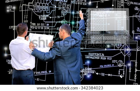 Engineering computer technology.Work designer.Industrial electrical engineering scheme - stock photo