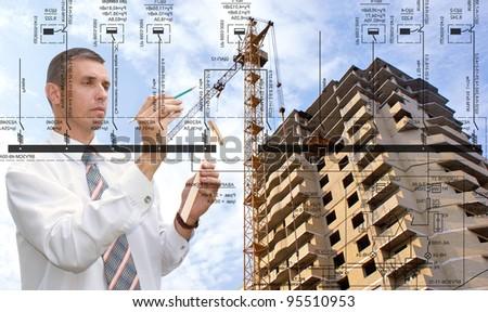 Engineering construction designing - stock photo