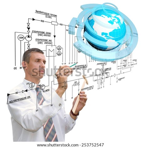 Engineering designing communications connection technologies - stock photo