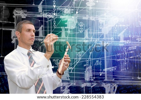 Engineering designing industrial power line - stock photo