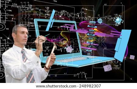 Engineering designing telecommunications technologies - stock photo