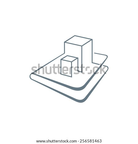 Engineering documentation for construction abstract sign Branding Identity Corporate logo design template Isolated on a white background - stock photo