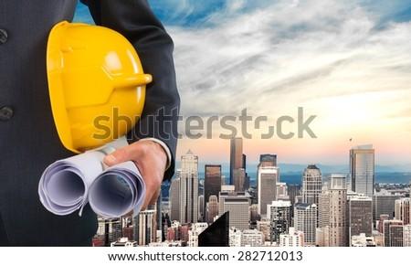 Engineering, engineer, white. - stock photo
