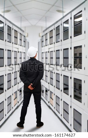 Engineering in data center room - stock photo