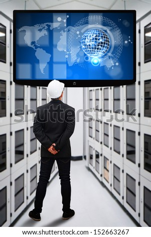 Engineering in data center room and LED monitor  : Elements of this image furnished by NASA  - stock photo