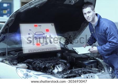 Engineering interface against mechanic analyzing car engine - stock photo