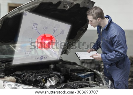 Engineering interface against mechanic with clipboard examining car engine - stock photo
