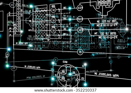 Engineering scheme.Abstract industrial background - stock photo