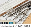 engineering tools on a technical drawing - stock photo