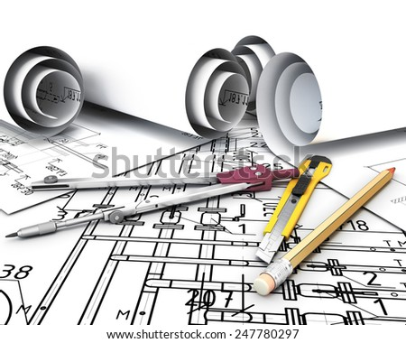 Engineering tools on the drawing plans. 3d render image. - stock photo