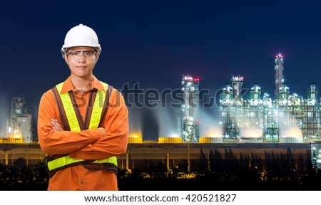 Engineering with petrochemical plant and oil refinery at twilight time - stock photo
