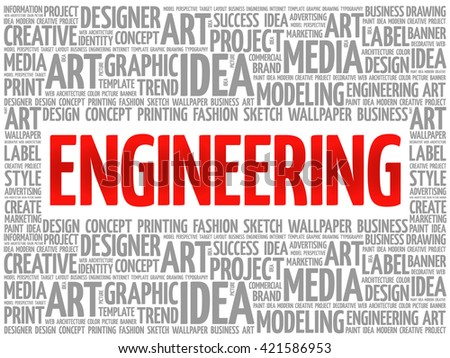 Engineering word cloud, creative business concept background - stock photo