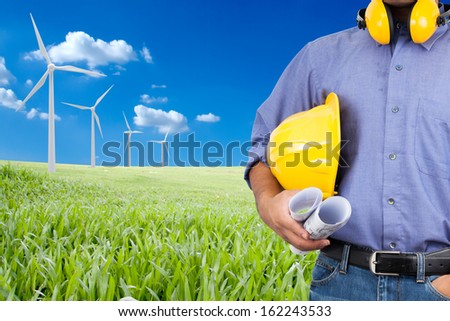 Engineers with expertise in renewable energy. - stock photo