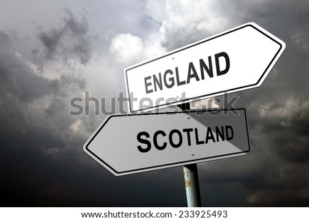 England and Scotland directions. - stock photo
