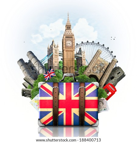 England, British landmarks, travel and retro suitcase - stock photo