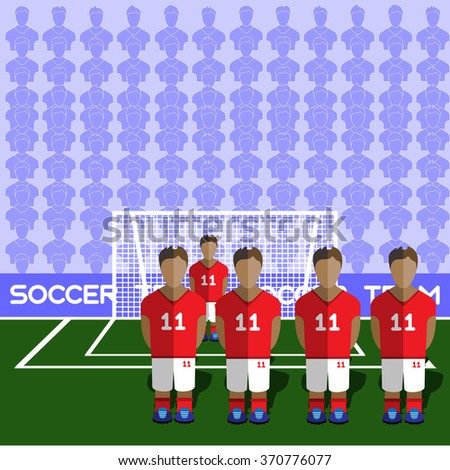 England Football Club Soccer Players Silhouettes. Computer game Soccer team players big set. Sports infographic. Football Teams in Flat Style. Goalkeeper Standing in a Goal. - stock photo