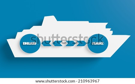 England france ferry boat route info in icons - stock photo