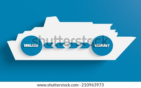 England germany ferry boat route info in icons - stock photo