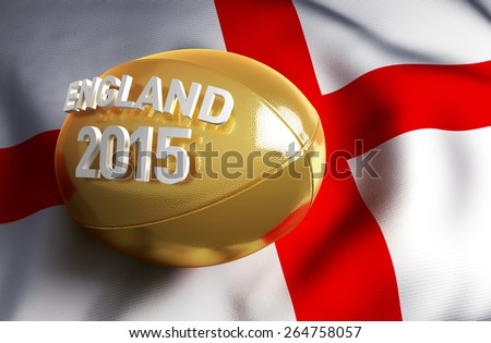 England 2015. Golden rugby ball on the English flag - stock photo