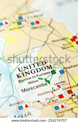 England  on atlas world map - stock photo