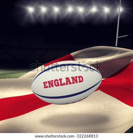 England rugby ball against rugby stadium - stock photo