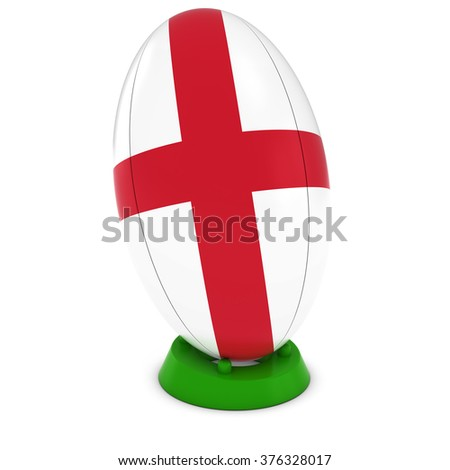 England Rugby - English Flag on Standing Rugby Ball - stock photo