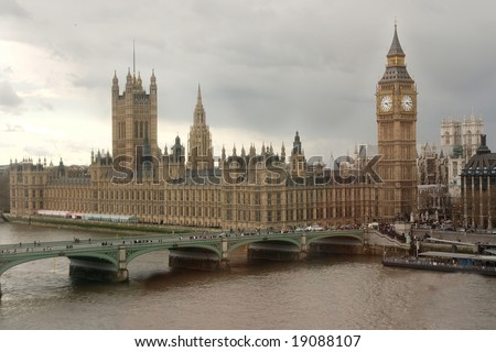 England's parliament in typical English overcast weather - stock photo
