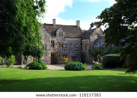 England traditional manor house in Cerne Abbas Dorset English countryside - stock photo