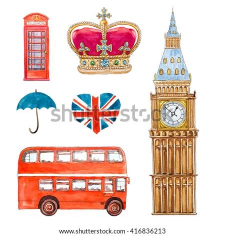 england travel watercolor set - stock photo
